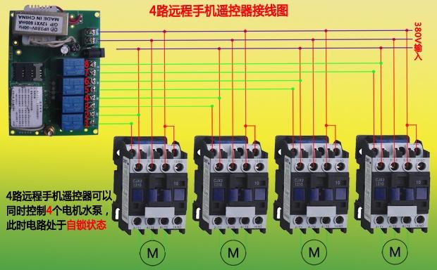此款远程手机遥控器工作模式是无法自动调节的,是系统设置好的,要么是点动模式,要么是自锁模式,因此在选购时要说明需要哪一款模式的产品。 4路远程手机遥控器工作模式不同,接线设备及方法也不相同:自锁状态可以接水泵、电机及交流接触器;点动状态可以接配电柜(箱)以及启动停止按钮。 4路远程手机遥控器接线图例: 4路手机无线遥控器接水泵、电机(可以同时控制四个设备):  4路手机智能遥控器接配电柜(箱)启动停止按钮:  相比于2路远程手机遥控器,4路手机无线遥控器能够控制2组启动停止按钮。 4路远程手机遥控器(自锁