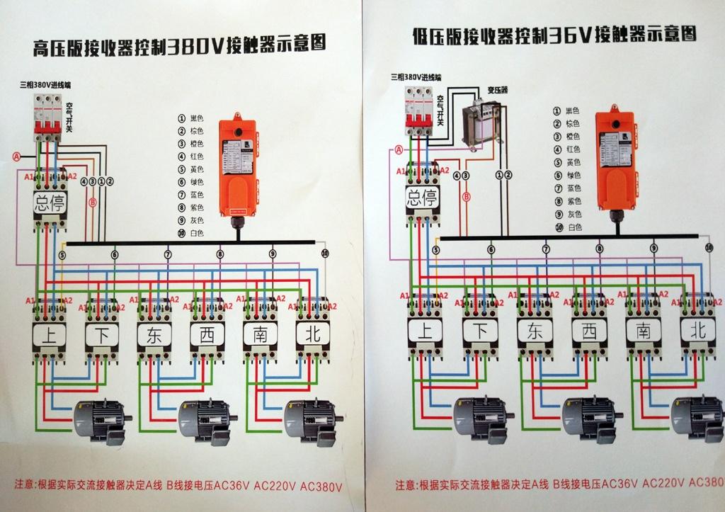 航吊遥控器接线图 一套航吊无线遥控器整套配件:1个接收器,1个发射器